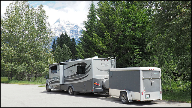 Our motorhome with trailer.