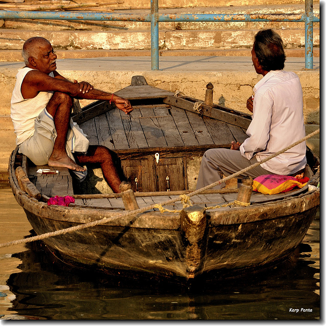 """Conversing in the boat"" - Varanasi - INDIA"