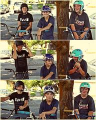 Three boys on bikes