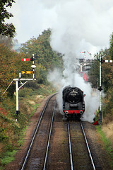 "B.R  Standard Class 9F no 92214 ""Leicester City""  departs Loughborough"