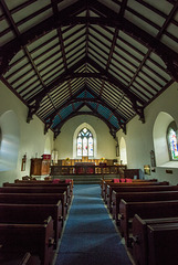 The interior of the church, it is still in use and a baptism was about to take place when I took thi