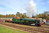 """GWR Modified Hall Class no 6990 """"Witherslack Hall"""" departs Quorn and Woodhouse station"""