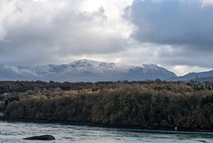 The Menai straits with Snowdonia in the background