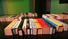 LIBRI [9] ... Der Büchertisch - halbe Bücher