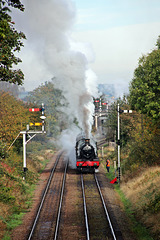 "GWR Modified Hall Class no 6990 ""Witherslack Hall"" departs Loughborough"