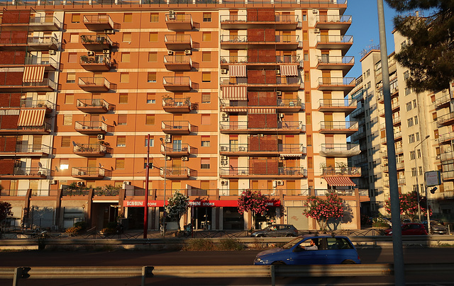 A west-facing apartment block