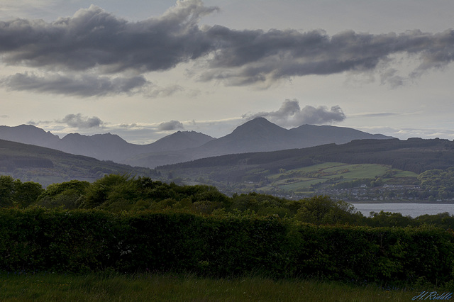 The mountains of Arran at dusk