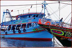 Port Said : le  originali barche da pesca egiziane a Port Fouad