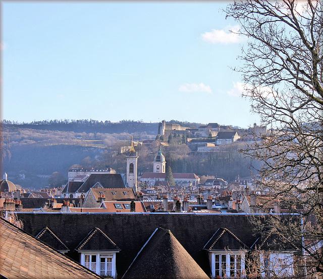 Besançon (25) 23 décembre 2013. Vue depuis le chemin de ronde de Fort-Griffon.