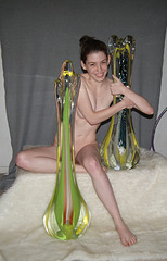 Model with my Glass Sculptures