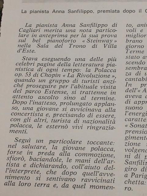 Tivoli: recensione del concerto di Anna Sanfilippo (18 settembre 1976)