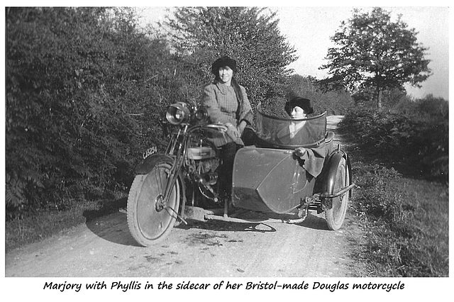 Marjory & Phyllis on a Douglas motorcycle c1925