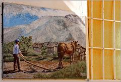 Usseaux : la faticosa aratura dei campi in pendenza - murales