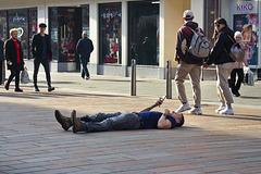 Man Lying on Buchanan Street, Glasgow