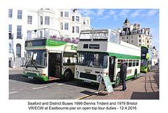 Seaford & District Dennis Trident & Bristol VR-ECW at Eastbourne Pier - 12.4.2016