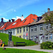 Bergen - benches in residential distric : pizza time -