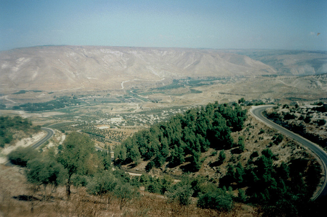 View from the edge of Umm Qais archaeological site over the Golan Mounts.