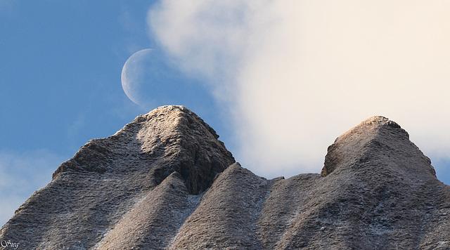 Moon and sun over Pizzo Maggiore