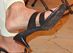 close up of wife in cole haan heels