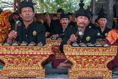 Gamelan player at the saron barung