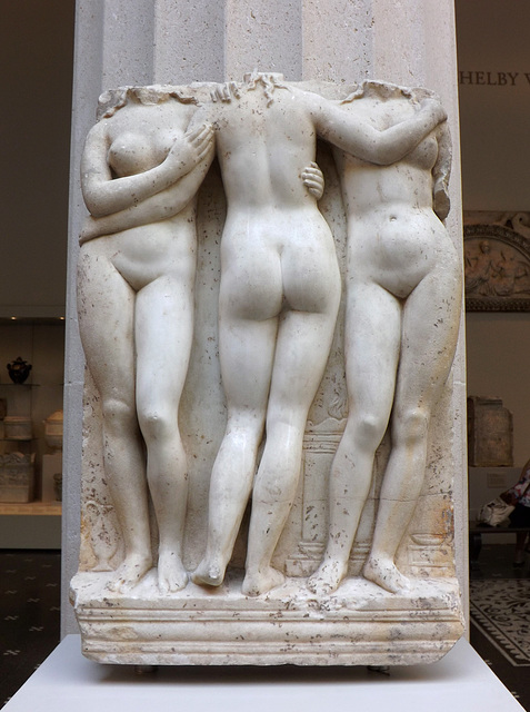 Marble Relief of the Three Graces in the Metropolitan Museum of Art, September 2014