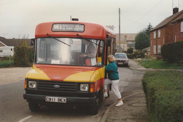 Eastern Counties C911 BEX in Barton Mills - 24 Oct 1988