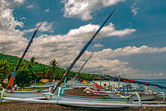Outrigger boats at Desa Bunutan