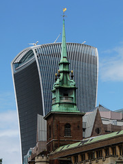 Ancient and Modern- Walkie Talkie Building behind All Hallows Church