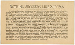 Nothing Succeeds Like Success, Galt House, Cincinnati, Ohio, ca. 1880s