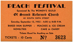 Peach Festival Ticket, Second Reformed Church, Reading, Pa., Sept. 13, 1952