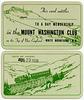 Mount Washington Club Membership Card, August 23, 1938