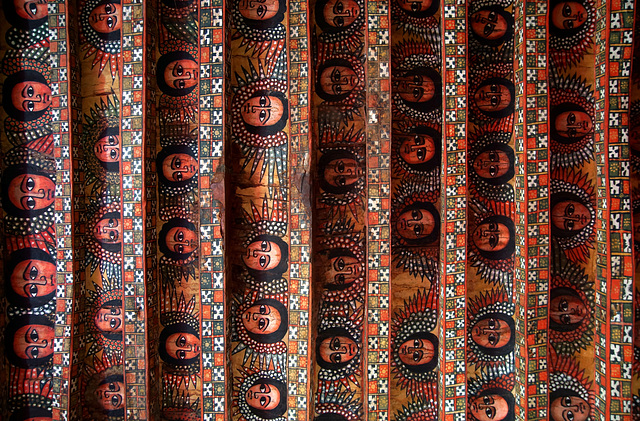 The ceiling of Debre Berhan Selassie Church, Gondar