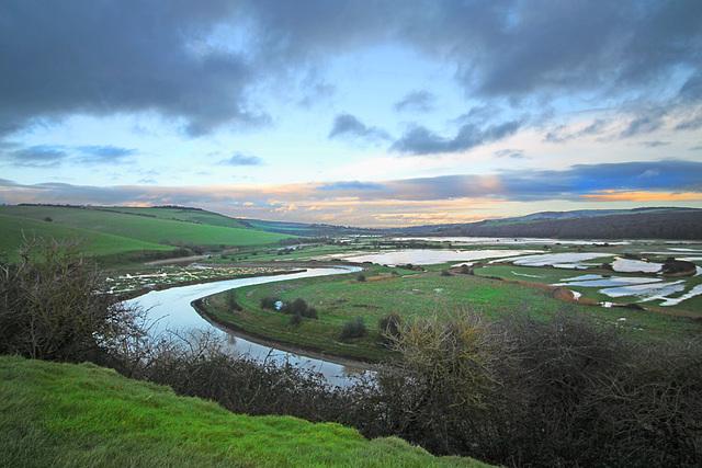 Cuckmere Valley from near Exceat Bridge - northwards  - 11.1.2016