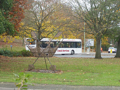 DSCF0272 A Coach Services (Thetford) bus and the St. Edmund's Crown - 7 Nov 2017