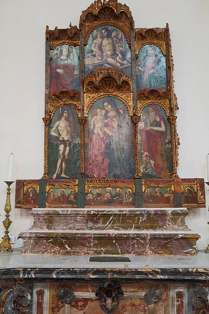 Resurrection, Madonna and Child, Saints