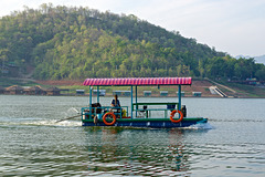Boat-like vehicle on Srinakarin lake in Kanchanaburi province, Thailand