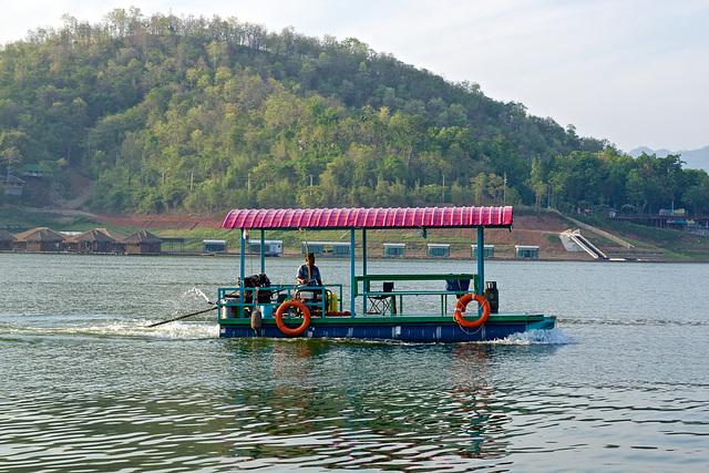 Boat-like vehicle on Srinakarin lake in Kanchanaburi province, Thailand