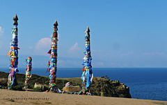 wooden shaman totems on the island Olkhon (Baikal-Siberia)
