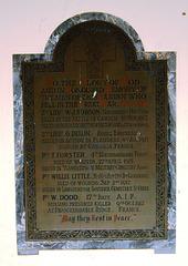 War Memorial, Greystead Church, Northumberland
