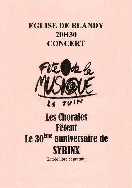 Concert à Blandy-les-Tours le 21 juin 2000