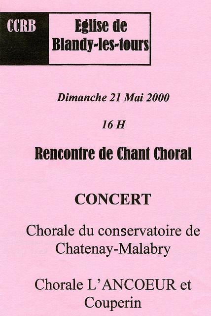 Concert à Blandy-les-Tours le 21 mai 2000