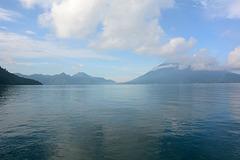 Guatemala, Atitlan Lake and Atitlan Volcano (3535m) in Clouds
