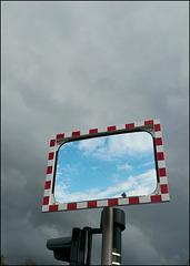 blue sky in grey