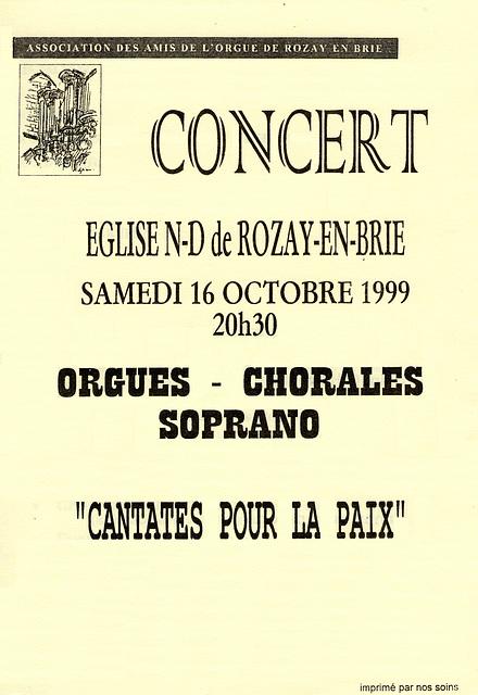 Concert à Rozay-en-Brie le 16 octobre 1999