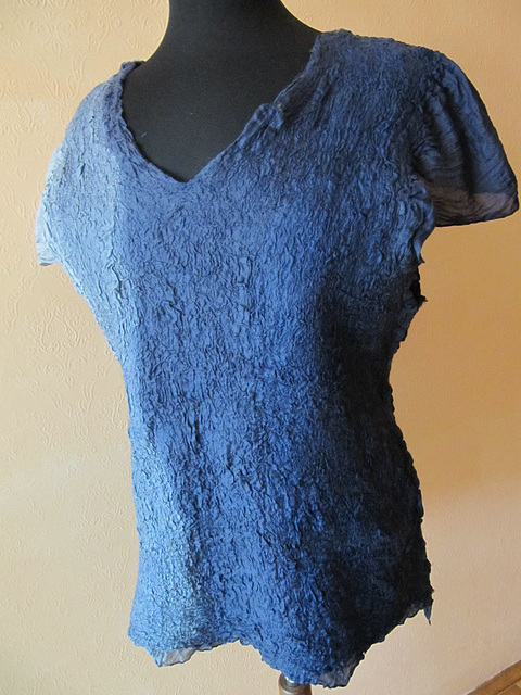 nuno felted top - silk habotai, merino wool