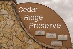 Cedar Ridge Preserve sign