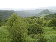 Green mountains.