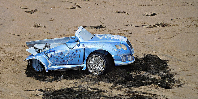 Bentley on the beach at Margate