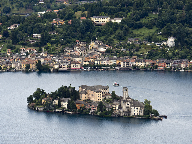 The island of San Giulio and the village of Orta, on the homonym lake