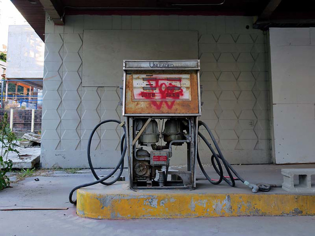 unleaded, abandonned, graffiti,